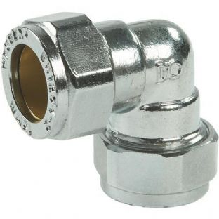 15mm compression chrome elbow 90º fitting (Bag of 10=£15.30)